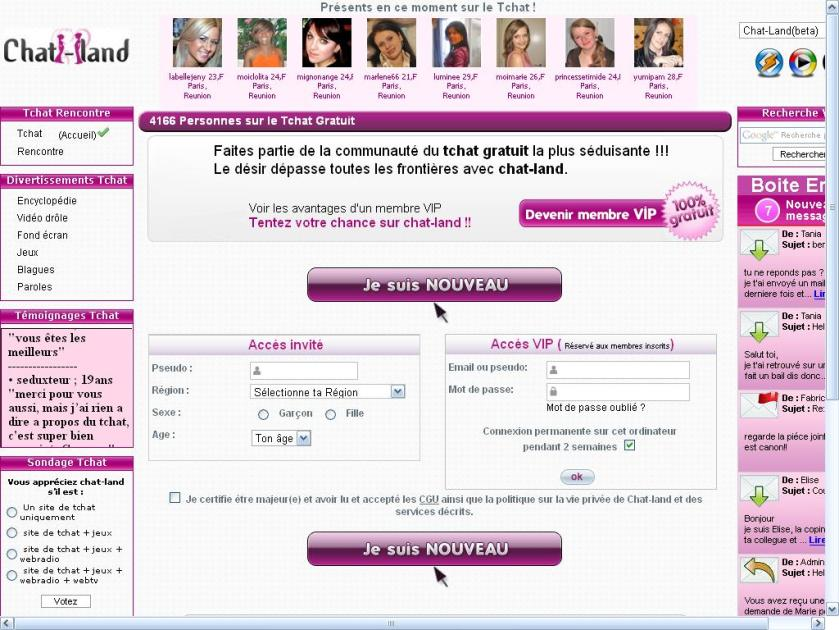 Chat-land ,Chat Gratuit, site de tchat en ligne, Chat-land.org